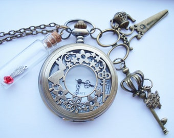 Alice in Wonderland Red Rose Queen Pocket Watch Necklace