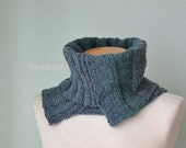 Steal blue green knitted cowl asymmetrical striped pattern  G639