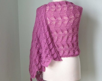 Lace knitted shawl, violet, pink, fuchsia,  H810