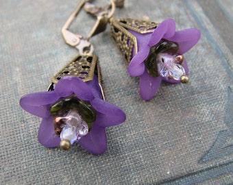 Purple Trumpet Flower Earrings with Brass Filigree
