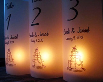 Wedding Luminaries, Table Number Luminaries Personalized Wedding Cake, Set Of 12