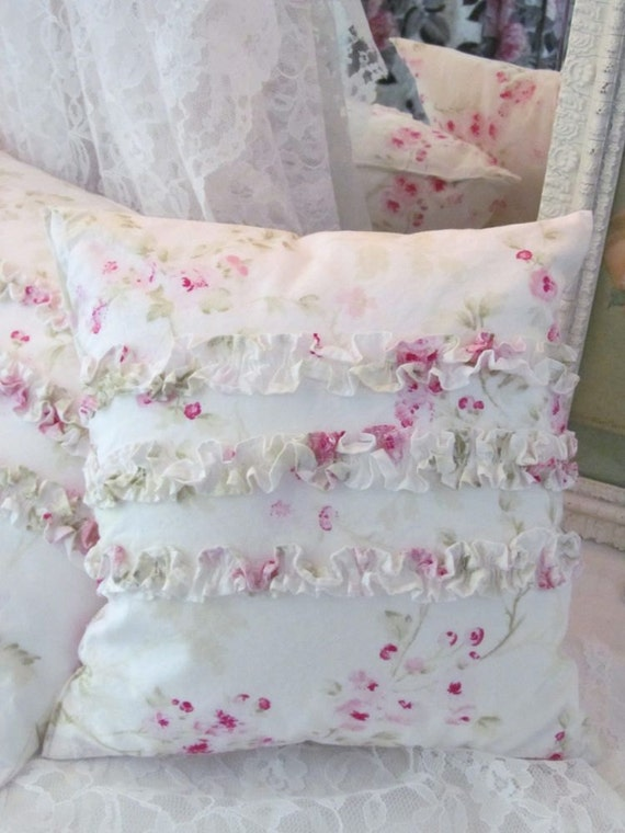 Shabby Chic Bed Pillows : Treasury Item Shabby Chic Ruffle Pillow Rachel Ashwell