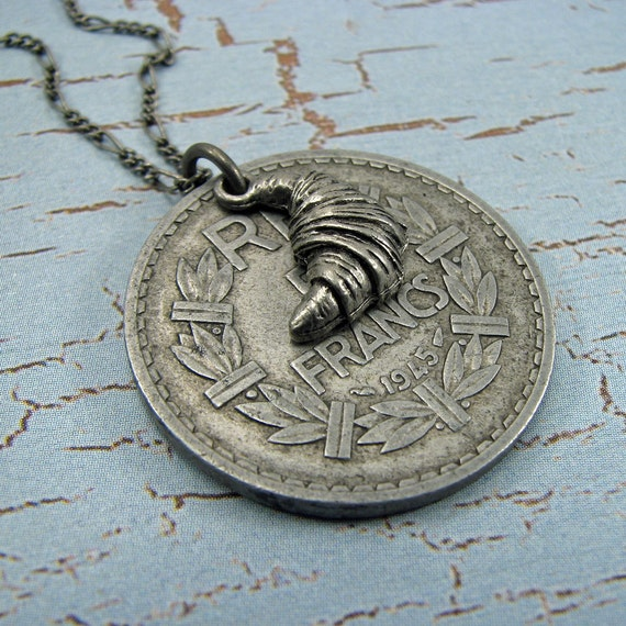 French franc coin with croissant charm, antique silver