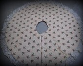 Holly and Berries Cream Christmas Tree Skirt-Free Shipping