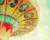 Carnival photography, swing ride, golden sunset, puffy clouds, children's wall art, wall decor, turquoise print - 8x10 Carousel