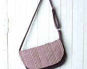 Everyday Handbag Purse in Structured Purple Plaid and Tweed