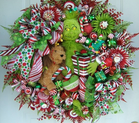 Grinch Wreath Christmas Wreath Holiday Wreath Door Wreath