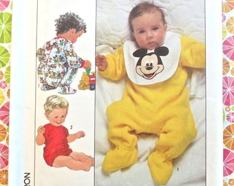 Vintage 1980s Disney Infant Pattern - Sleeper with Mickey Mouse Bib  -Simplicity 8264