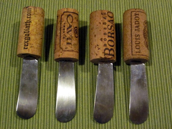 Wine cork canap spreader knives darker set of 4 for Canape knife set