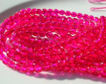Hot Fuschia 6mm Faceted Fire Polish Round Czech Glass Beads   25