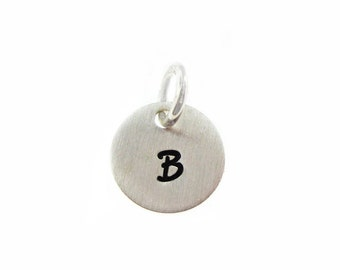 ADD a Tiny INITIAL Charm - 3/8 inch Round sterling silver tag (AO024)