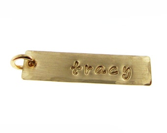 ADD a Name or a Date Charm - 1 inch long rectangle 14k gold filled tag (AO039)