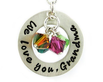 We love you Grandma Necklace - Hand Stamped Special Message Jewelry (RTS013)