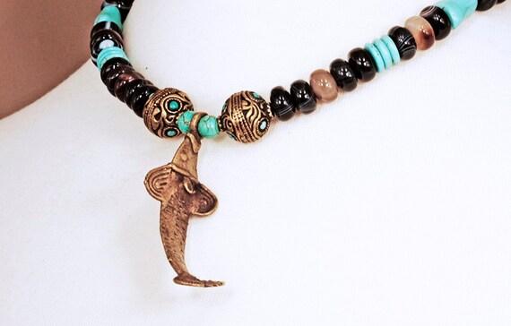 Lobi Tribal Spirit Amulet, Banded Agate & Turquoise