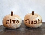 Thanksgiving decor ... give thanks ... handmade polymer clay pumpkins ... Word Pumpkins - SkyeArt