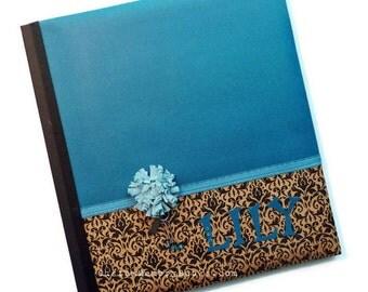 Teal Damask Custom Memory Baby Book - Kraft Flower