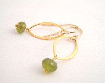 Vasunite Dangle Earrings, Olive Green, Gold, Modern Earrings