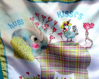 Silky charmeuse minky elephant baby blanket meet Henri the elephant loves Mademoiselle Tweet by Rosanna Hope for Babybonbons