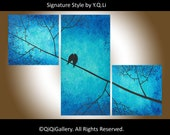 "Landscape Abstract Painting Original Modern  Palette Knife Tree Branches Birds ""Looking Up"" by QIQIGALLERY"