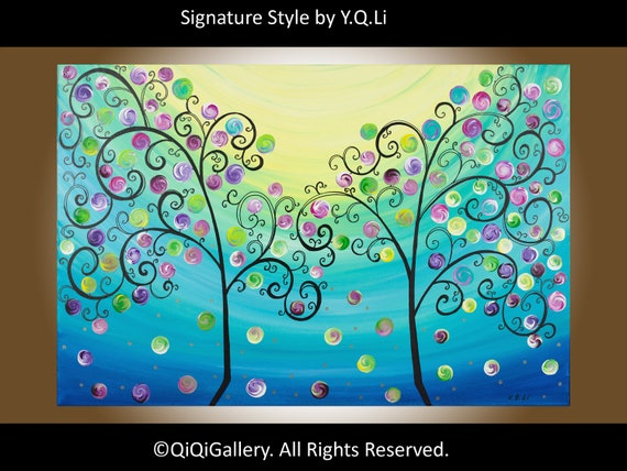 "36"" Large Abstract Acrylic Painting swirls tree Landscape Heavy Texture Painting Impasto Trees Painting Wall Décor by QIQIGALLERY"