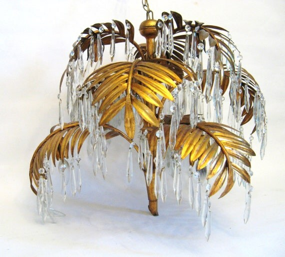 Vintage Hollywood Regency Gold Gilt Palm Leaf By Fabulousmess