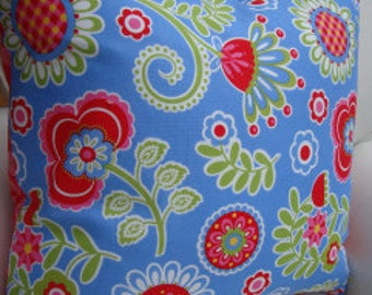 "ShaBBy CHiC 20"" PILLOW COVER Swedish BluE Red CoTTage French Boho Print SHaM"