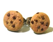 Miniature Chocolate Chip Cookie Stud Earrings, Polymer Clay Jewelry, Realistic Miniature food