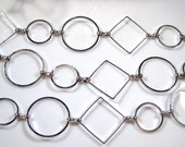 50% Off 4 Ft Chain, Bright Silver, Diamonds and Circles CH1029