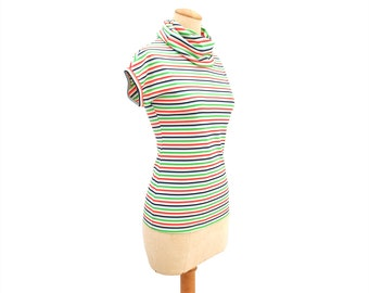Vintage 70s Top Stretch Knit Cowl Neck Tee Short Sleeve Red White Blue Green Stretchy Stripe Cap Sleeves 1970s Bright Colors size Small