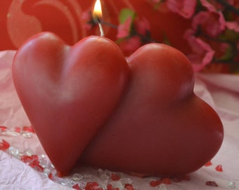 Red Double Heart Valentine Candle scented in raspberry vanilla