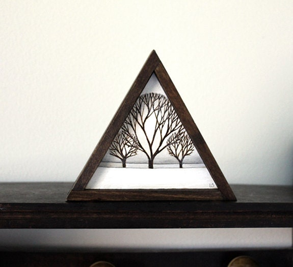 Miniature Original Wood Burning Painting In Handmade Triangle