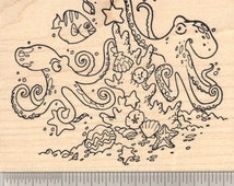 Christmas Under the Sea Rubber Stamp featuring Octopus couple, Coral Reef, Starfish, Clams, and fish  O19311 WM