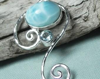NECKLACE - Larimar Sterling Silver Spiral Swirl Necklace with Aqua Blue Topaz - Blue Larimar Necklace - December Birthstone - Ocean Inspired