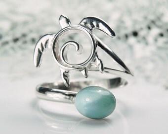 Silver Sea Turtle Ring - Adjustable Larimar Cuff Ring - Sterling Silver Honu - Unique Turtle Jewelry - Aqua Blue Sea Life Nautical Ocean