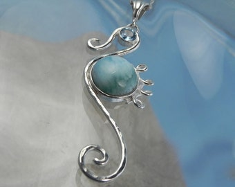 Seahorse Necklace - Seahorse Larimar Pendant- Unique Seahorse Jewelry - Blue Topaz Larimar Sea Horse- Ocean Inspired