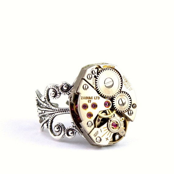 Steampunk Ring - Charming Vintage Zodiac Clockwork Design - Promptly Shipped Steampunk Jewelry by London Particulars