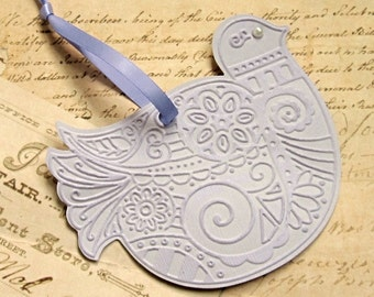 Christmas Gift Tags -  Set of 3 - Christmas Ornament -Hand Embossed - Dove - Partridge