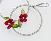 Holiday Jewelry - Festive - Poinsettia Flowers - Wire Wrapped Earrings - Christmas Jewelry - Gemstone Earrings Red & Green