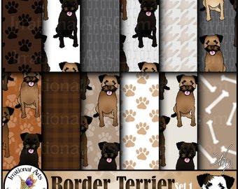 Border Terrier Dog set 1 - 12 digital papers with 7 adorable dogs and coordinating dog patterns including paws and bones {Instant Download}
