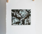 Koi Fish- relief print copper and teal-signed original artwork