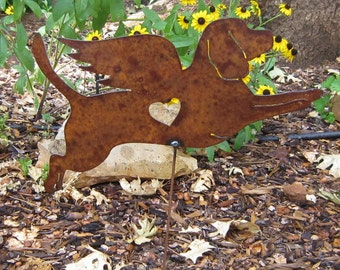 For: Jsimmons546 only - Rusty Finish Metal Garden Art Beagle Angel Memorial Yard Stake