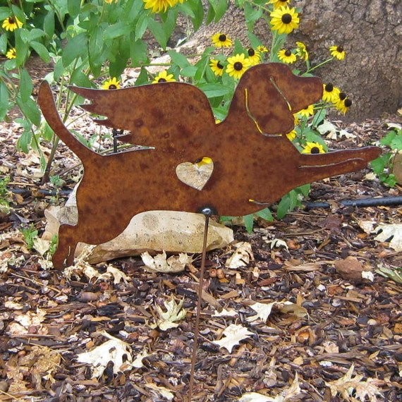 Rusty Finish Metal Garden Art Beagle Angel by MountainIron ...