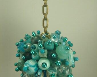 Aqua Blue Beaded Christmas Ornament Ball and Chain