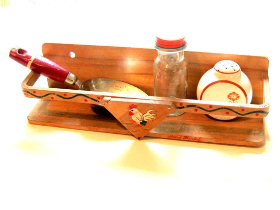 There's a Rooster in the Kitchen - Vintage Wood Spice/Accessory Shelf, Japan