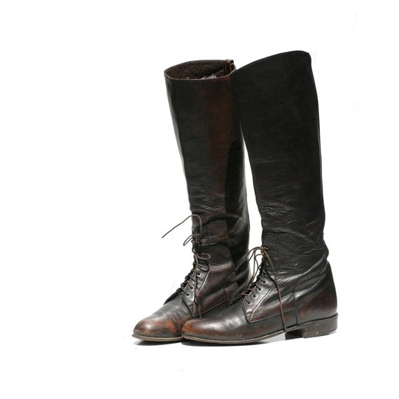 Vintage JUSTIN Dark Brown Leather Riding Boots size: 5.5
