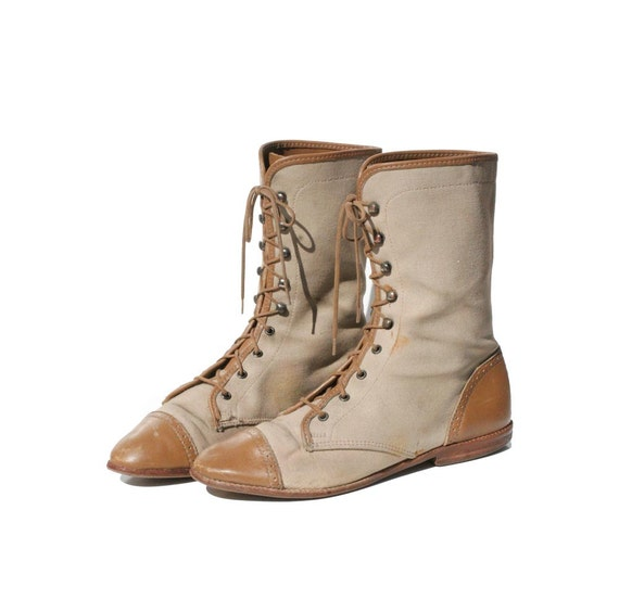 Mid Calf Canvas & leather Lace up Boots size 6.5