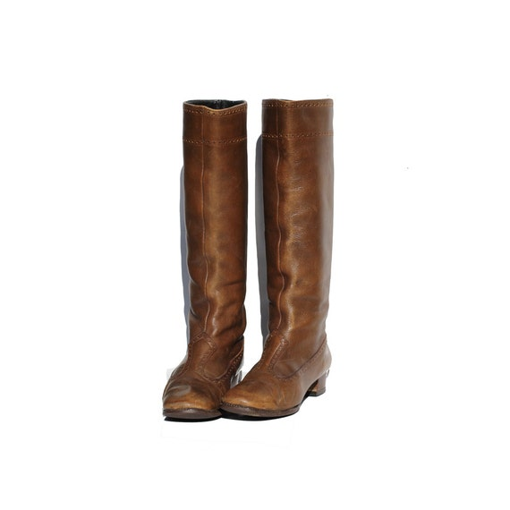 Vintage Brown Leather Tall Boots size: 6