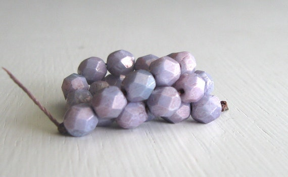 25 Opaque Lavender Luster 6mm Rounds - Czech Glass Beads