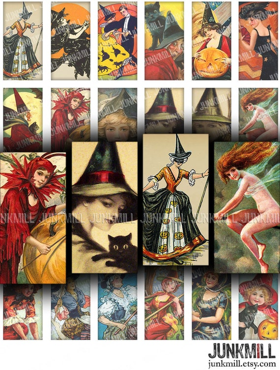 """BEWITCHED - Digital Printable Collage Sheet - Pretty Victorian Witches, Vintage Halloween Pin-Ups & Black Cats, 1"""" x 2"""", Domino Tile"""