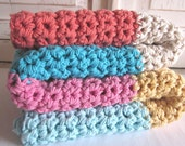 Cotton chunky crochet baby blanket / throw - CANDY STRIPE